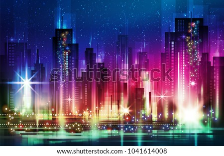 night city illustration with