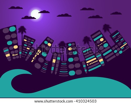 night city landscape moon and