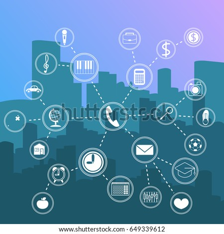Night city landscape vector illustration with high tech icons in flat style.