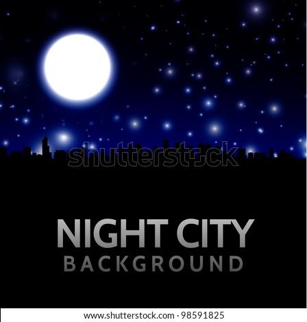 night city landscape with big