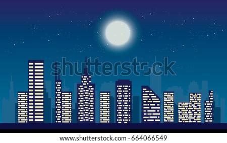 night city lights  full moon