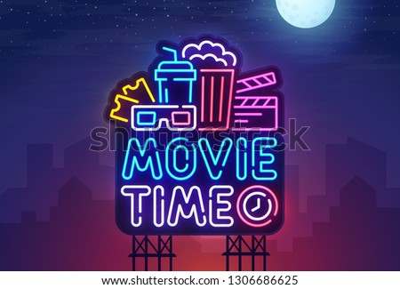 Night city. Sign neon. Cinema billboard. Bright signboard, light banner. Cinema logo. Vector illustration.