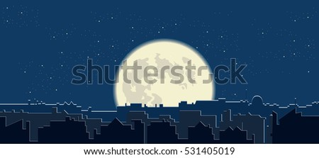 night city silhouette full moon