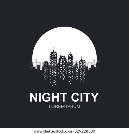 Night city skyline at full moon icon.
