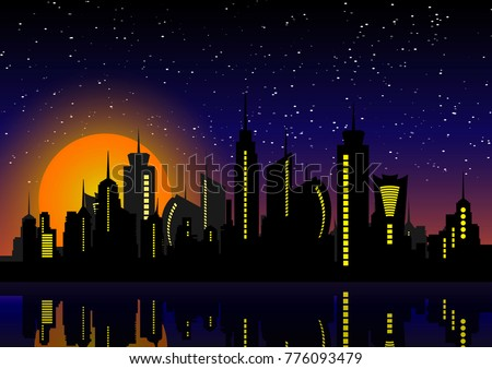 night city skyline cityscape