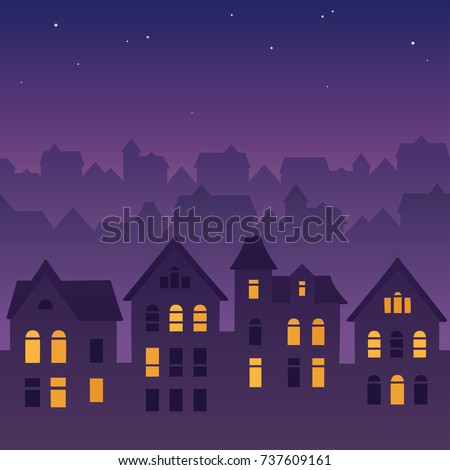 Night city skyline silhouette. Old traditional rooftops and twilight sky. Cartoon vector illustration, seamless tileable from sides.