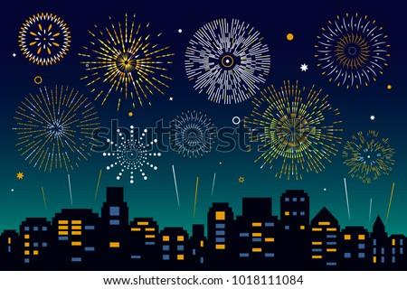 Night City Skyline with Fireworks. flat vector illustration
