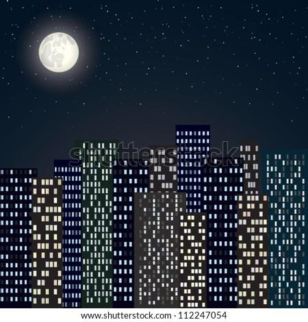 night city skyline with moon