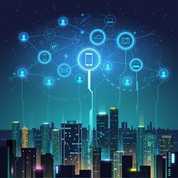 Night city social digital life