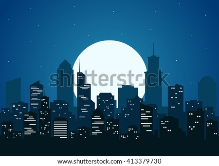 Shutterstock Night city vector illustration. Dark urban scape. Night cityscape in flat style. Night city skyline abstract background. Modern night city landscape.