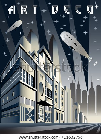 Night city. Vertical cityscape background. Handmade drawing vector illustration. Art Deco style. Stock photo ©