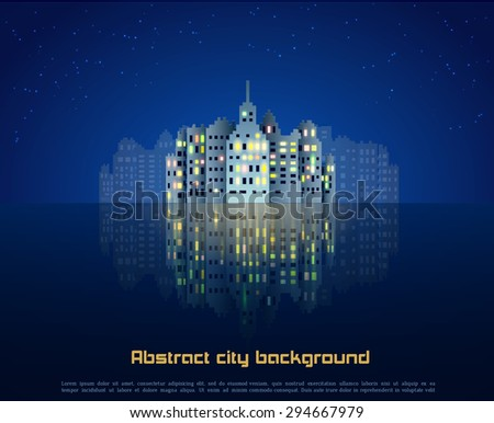 night city with mirror abstract
