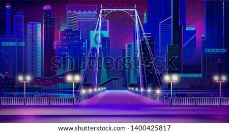 night city with neon lights