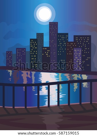 night cityscape beside a river