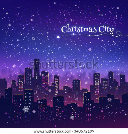 night cityscape christmas