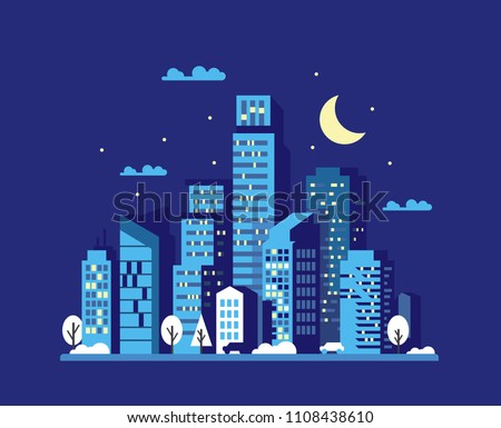 Night cityscape in flat style. Vector illustration
