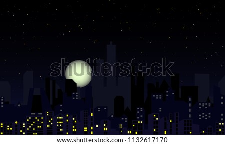 Night cityscape with full moon and falling stars. Silhouettes of urban buildings and night lights. Metropolitan downtown silhouette with skyscrapers