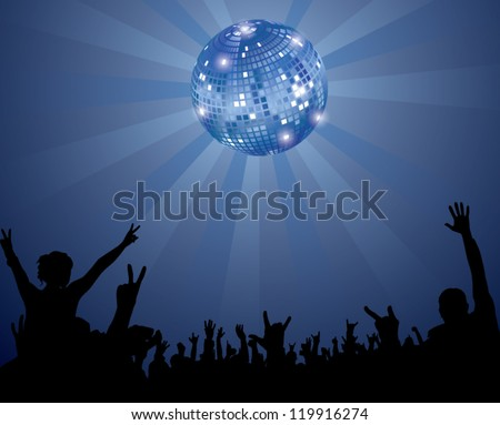 Night Club Crowd with Disco Ball