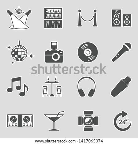 Night Club Icons. Sticker Design. Vector Illustration.