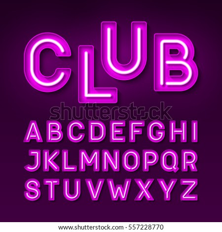 Night club neon font, Broadway style vintage typeface vector illustration