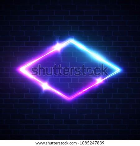 night club neon light rhomb on