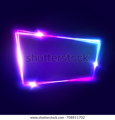 Night Club Neon Sign. Blank 3d Retro Light Signboard With Shining Neon Effect. Techno Frame With Glowing On Dark Blue Backdrop. Electric Street Banner Design. Colorful Vector Illustration in 80s Style