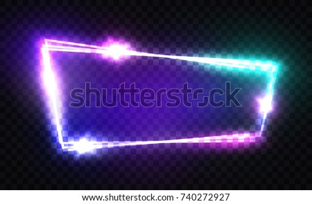 Night Club Neon Sign. Blank 3d Retro Light Signboard With Shining Neon Effect. Techno Frame With Glowing On Transparent Backdrop. Electric Street Banner Design. Colorful Vector Illustration. 80s Style