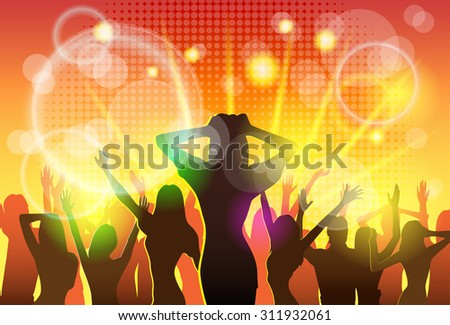 NIght Club People Crowd Dancing Silhouettes Party Vector Illustration