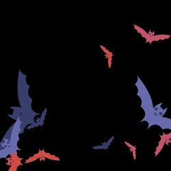 Night Creepy Retro Chaos Art Flying Bats Fabrics. Spooky Print Eyes Scary Background. Attack Black Colorful Pink Red Bats Vector Background. Purple Motion Gothic Sky Halloween Modern Design.