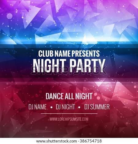 Night Dance Party Poster Background Template. Festival Vector mockup. DJ poster design. DJ background