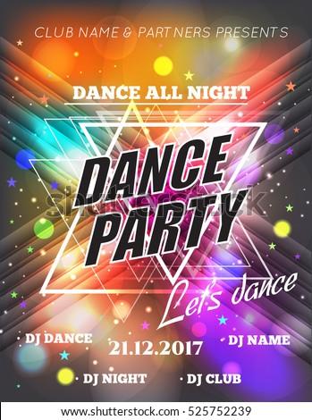 Night Dance Party Poster Background Template. Festival Vector mockup. DJ poster design. DJ background. Vector illustration.