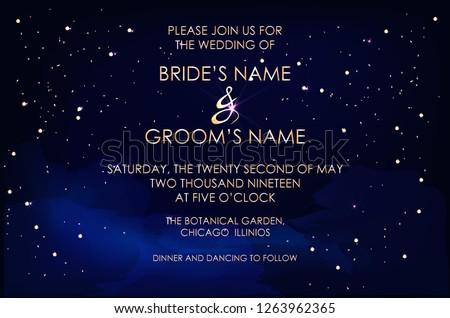 Night dark blue sky with sparkling stars vector wedding invitation. Gold glitter powder splash background. Golden scattered dust. Midnight milky way. Fairytale magic card.