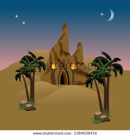 night desert landscape with a