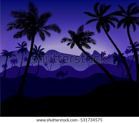 night desert landscape with