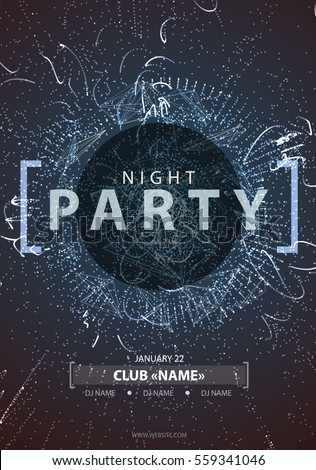 night disco party poster
