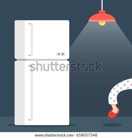 Night eating, night hunger concept. Dark room, ceiling lamp, refrigerator. Person sneaking into the fridge at night. Creative cartoon vector illustration