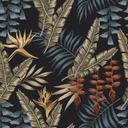 Night exotic jungle with gold tropical flowers bird of paradise (strelizia) seamless fabric t-shirt. Summer wallpaper black background