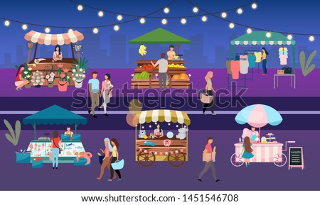 Night fair flat vector illustration. Outdoor street market stalls, summer trade tents with sellers and buyers. Flowers, farmers food and products, clothes city kiosks. People walk local urban shops  ストックフォト ©