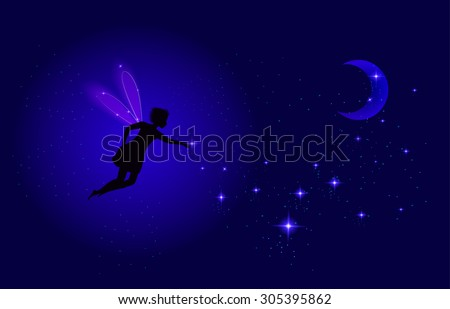 Night fairy with moon and shiny star sparkle, night dream, vector