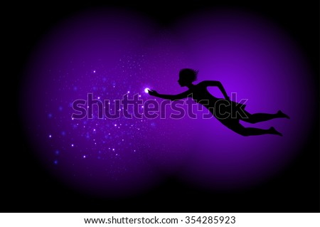 Night fairy with  shiny lantern sparkle, night miracle dream, vector