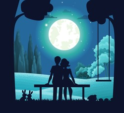 Night forest landscape, young romantic couple sitting on bench under moonlight. Date on moonlit night