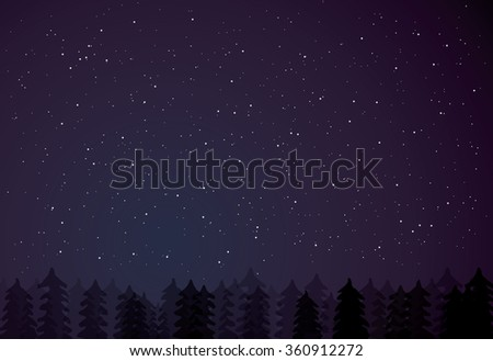 night forest on dark starry