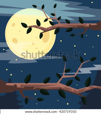 night forest vector flat
