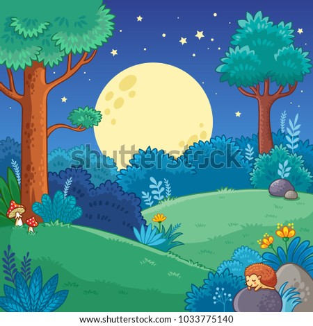 Stock Photo Night forest. Vector illustration with trees and moon in cartoon style.