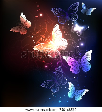 Night glowing butterflies on dark abstract background.