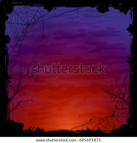 Night Halloween background with spiders. Grunge texture on blue and orange abstract background, illustration.