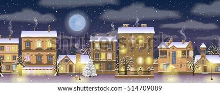 night horizontal vector winter