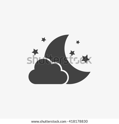 night icon in trendy flat style