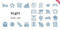 night icon set. line icon style. night related icons such as nightstand, bed, magic, eye mask, lighthouse, star, asteroids, lamp, trick, nebula, big bang, lander, asteroid, moon, constellation