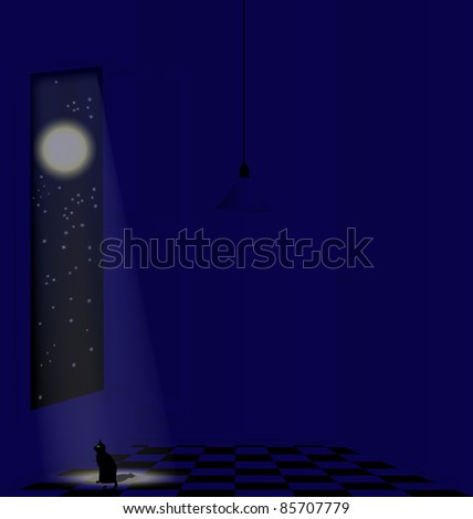 night in a white room - stock vector